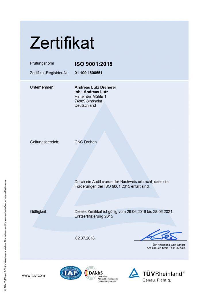 Zertifikat deutsch ISO9001-2015neu